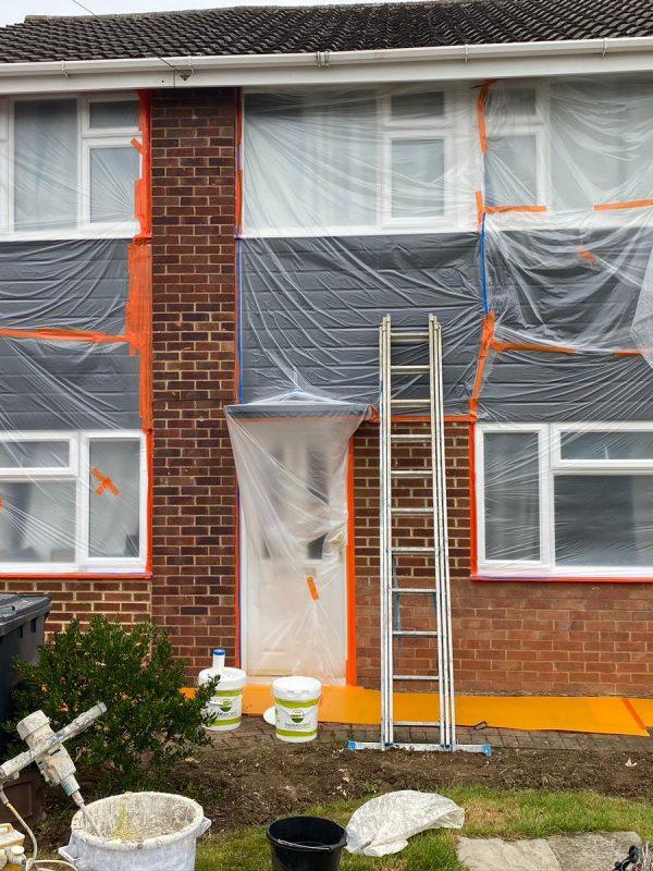 Brick overspray to stop rain penetration 1