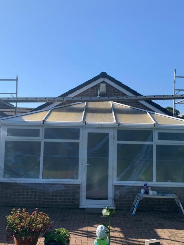 Conservatory roof sprayed with CorkSol by AC ECO Coatings of Newcastle 1