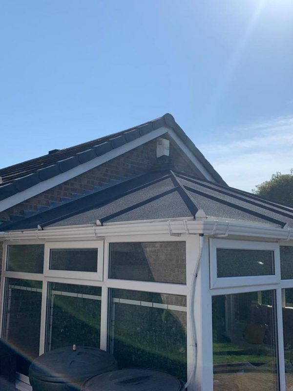 Conservatory roof sprayed with CorkSol by AC ECO Coatings of Newcastle 2
